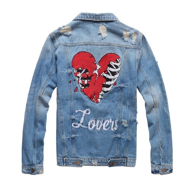 New France Style #410 Mens Distressed Destroyed Embroidery Skull Heart Moto Biker Blue Denim Jacket  Size M-4XL