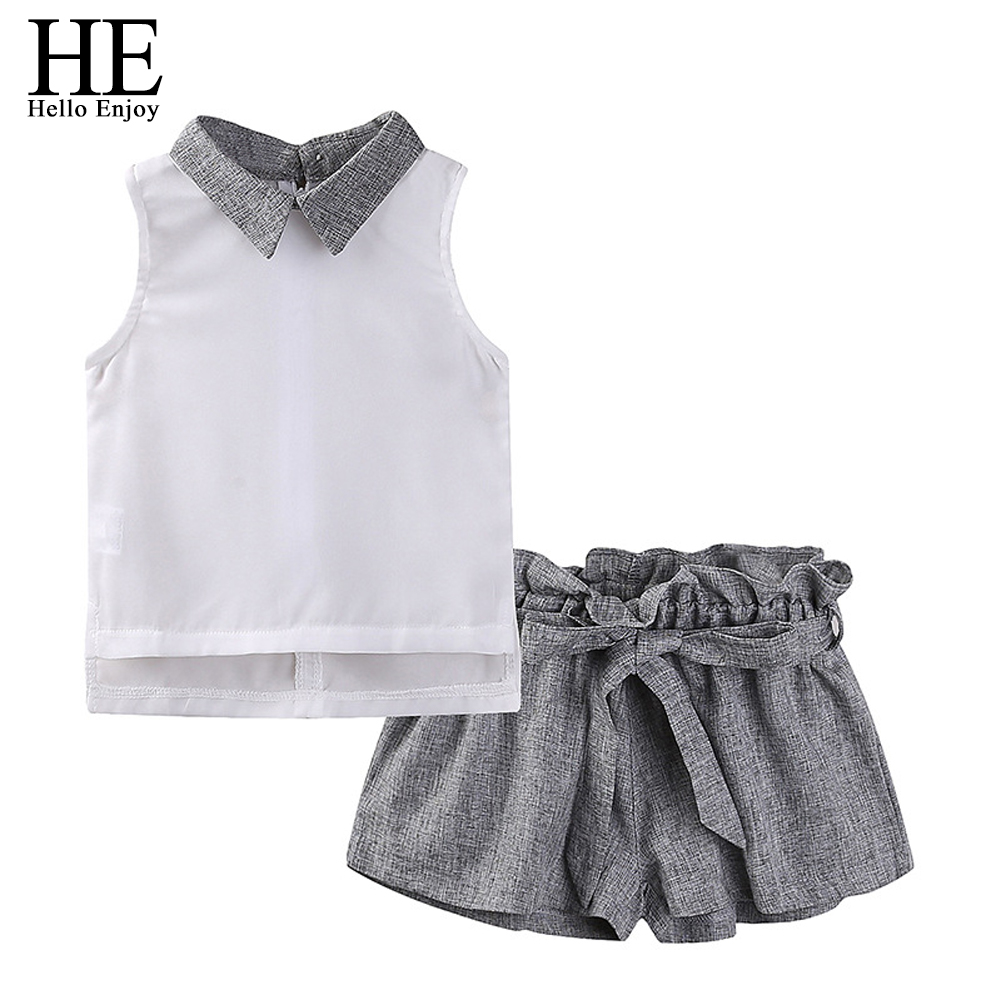 d251e051c45 HE Hello Enjoy 2019 Kids Girls Clothes Set Summer Chiffon Sleeveless Tops+Bow  Shorts 2pcs