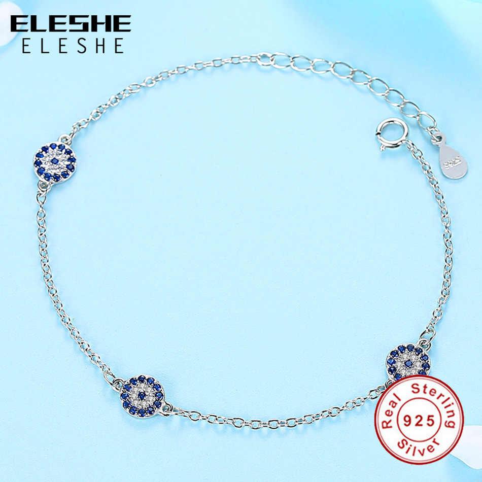 ELESHE Genuine 100% 925 Sterling Silver Bracelet Pave CZ Zirconia Blue Turkish Eye Bracelets for Women Wedding Fine Jewelry Gift