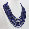 Lapis lazuli 6mm round shape beads 8 row necklace 17-24 inch women fashion jewelry design wholesale and retail