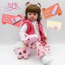 "ship from US NPK Bebe 19"" 48cm real girl reborn soft silicone vinyl reborn baby dolls high quality girls dolls alive bonecas(China)"