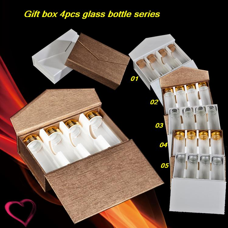 Gold and silver cover glass bottles set Transparent cork bottle with wholesale gift Candy food packaging box cover set pierre cardin cover set