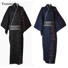 Кимоно халат men100% хлопок ткань стежка японский стиль кимоно Халат длинный халат дизайн