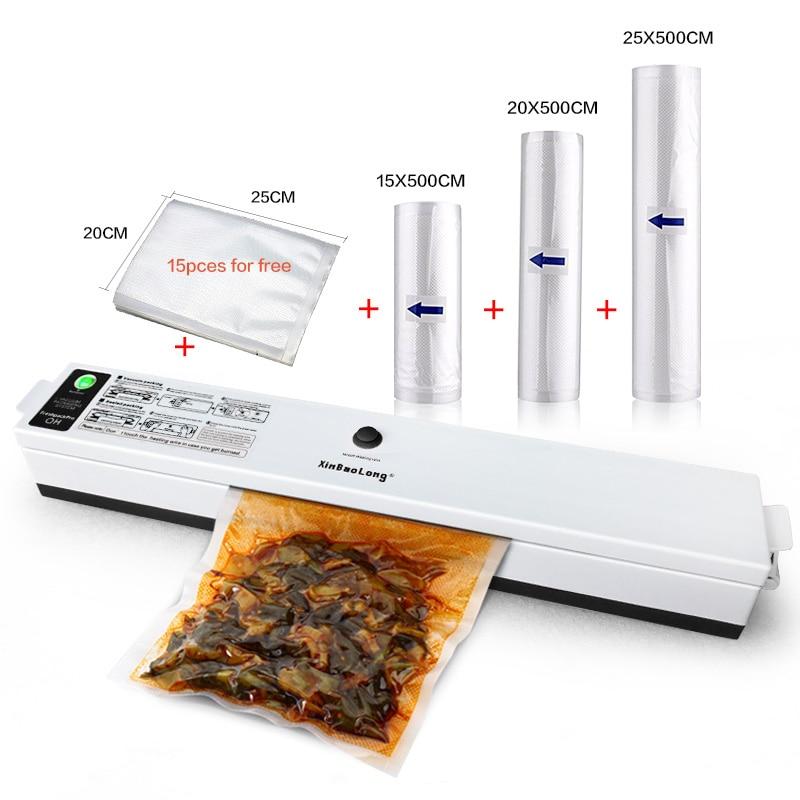 Electric Food Vacuum Sealer Keep Fresh 110W Automatic Sealer Vacuum Packer 3 Rolls Food Storage Packaging Machine Vacuum Bags