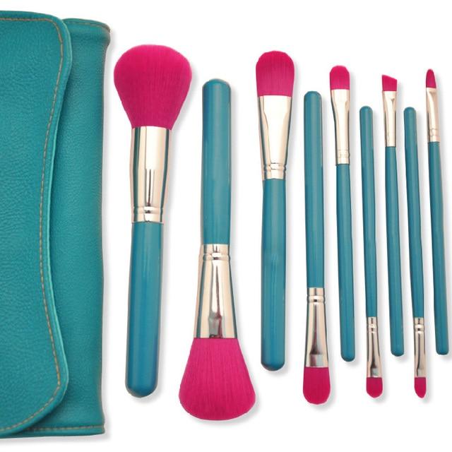 9 Pcs Synthetic Hair Makeup Brush Set / Cosmetic Kits Set / Portable Travelling Make Up Brush Set