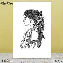 ZhuoAng Long Hair Girl Clear Stamps/Seals For DIY Scrapbooking/Card Making/Album Decorative Silicon Stamp Crafts
