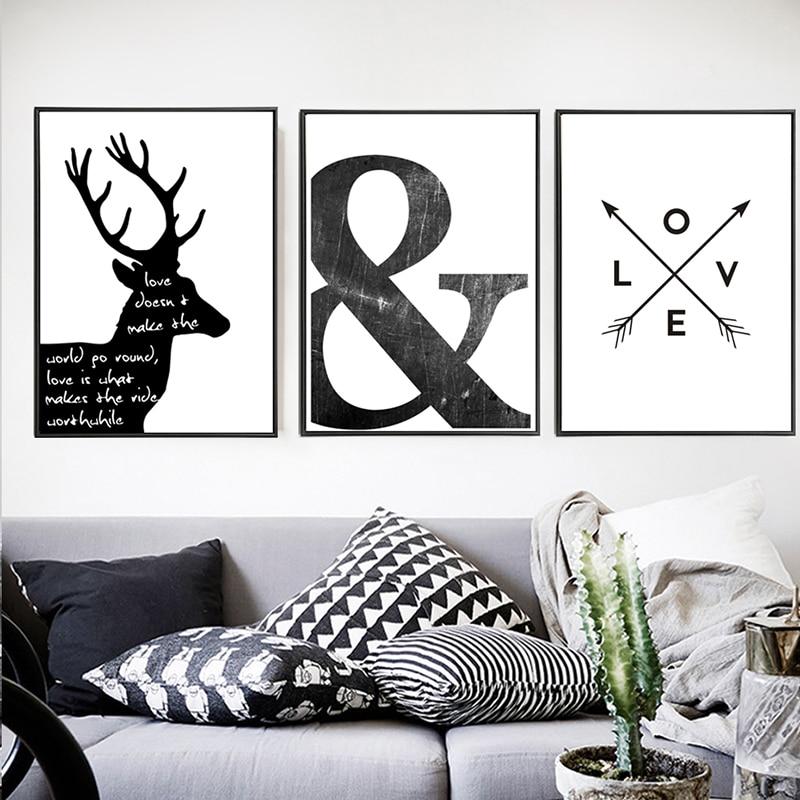 Abstrato-Minimalista-Escandinavo-N-rdico-S-mbolo-Pintura-Da-Lona-Preto-Branco-Cartaz-da-Parede-Retrato