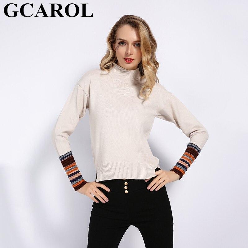 GCAROL New Fall Winter Women Stripes Sleeve Sweater Stretch Casual Sides Split Jumper Knit Pullover Stand Collar Knitwear