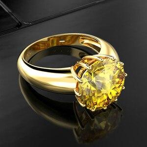 Image 3 - OneRain 100% 925 ayar gümüş düzenlendi mozanit taş düğün nişan sarı altın yüzük yıldönümü takı toptan