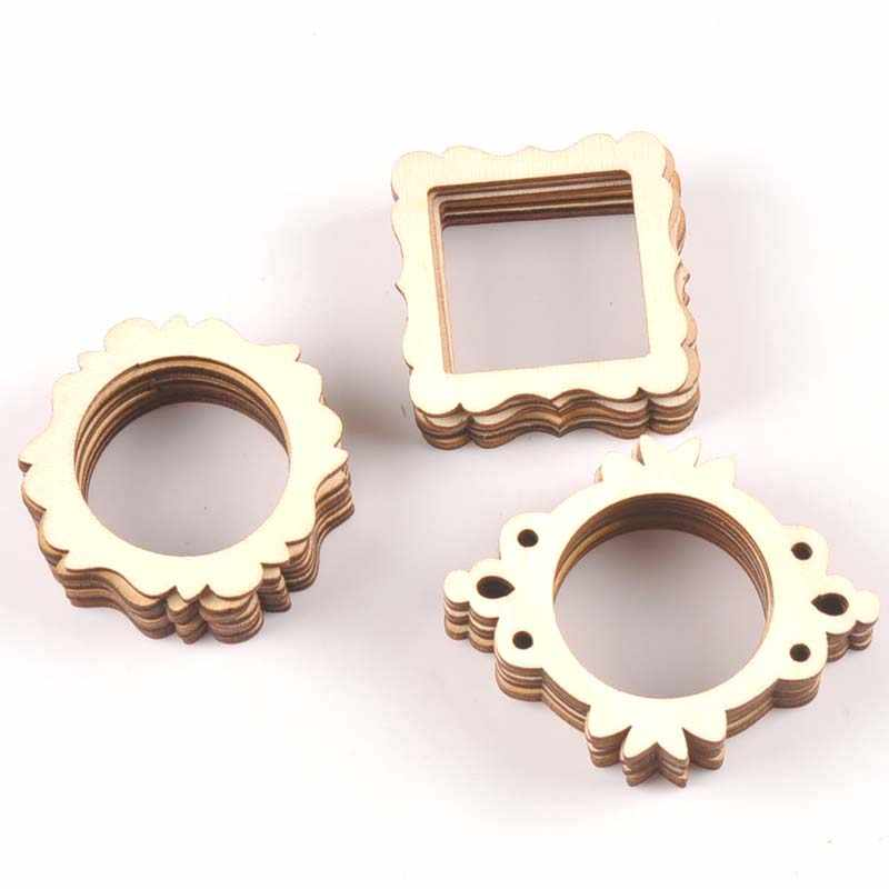 20pcs 50mm Photo Frame Wood DIY Crafts Scrapbookings DIY For Home Decoration Natural Wooden Ornaments Accessories Arts m1829