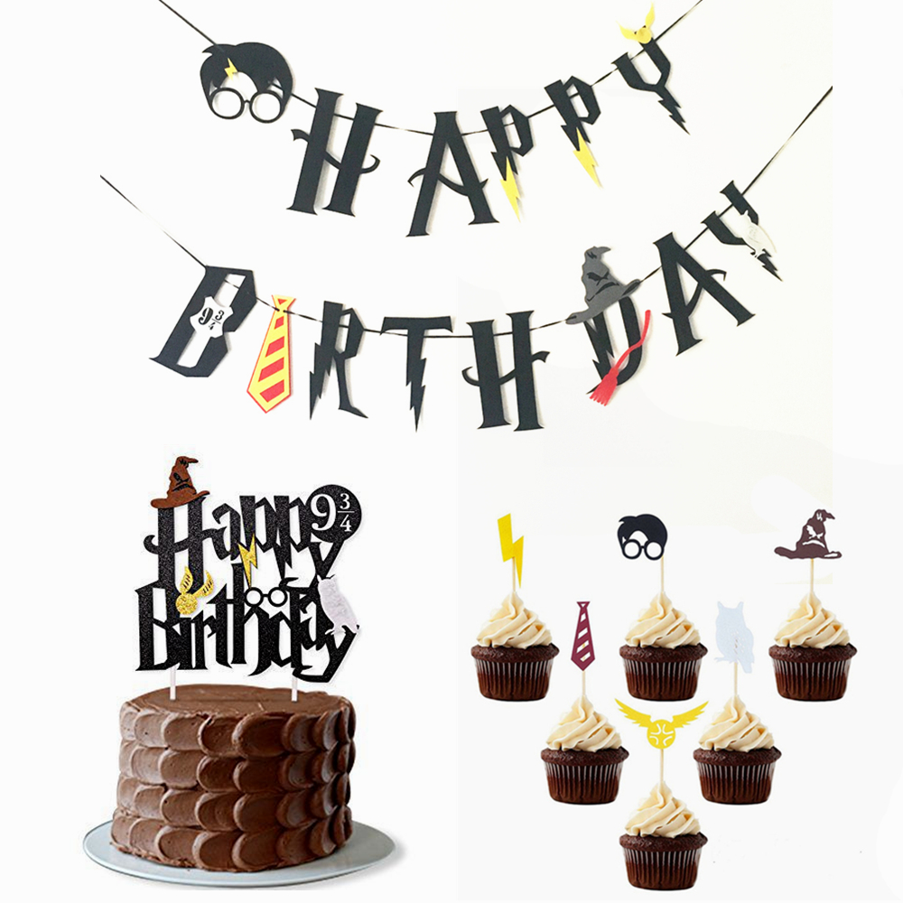Harry Potter Happy Birthday Banner Cake Topper Hogwarts Lightning Felt Flags Bunting For Baby Party Cupcake Decoratio In Banners