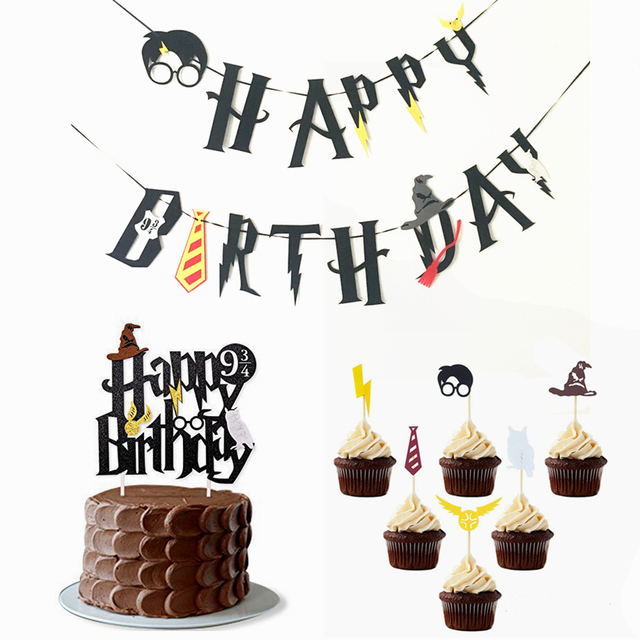 Harry Potter Happy Birthday Banner Cake Topper Hogwarts Lightning Felt Flags Bunting For Baby Party Cupcake Decoratio