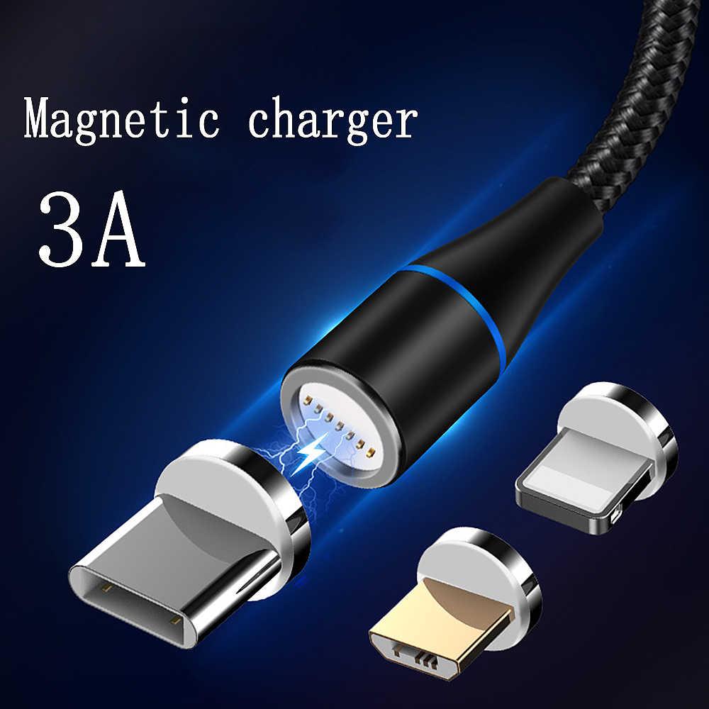 1M LED kabel magnetyczny i kabel Micro USB i rodzaj USB C nylonowy kabel pleciony type-c kabel magnetyczny do ładowania dla IPhone Xs Max R Xr 7 8