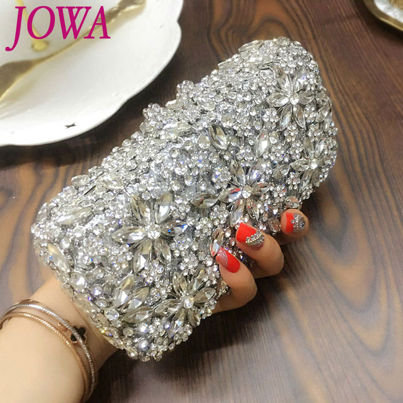 2018 Women's Fashion Evening Bags Shining Diamonds Handbag Ladies Silver Mini Handbags Rhinestone Flower Wedding Party Clutches