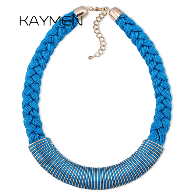 KAYMEN Newest 3 Portion Rope and Waxed Rope Twined Golden Pendant Choker Necklace for Women 4 Colors Chain Necklace NK-01065