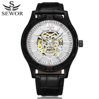 SEWOR Classic Men Watch Mechanical Automatic Self Wind Clock Leather Luxury Man Watches Skull Skeleton Wristwatches Montre Homme