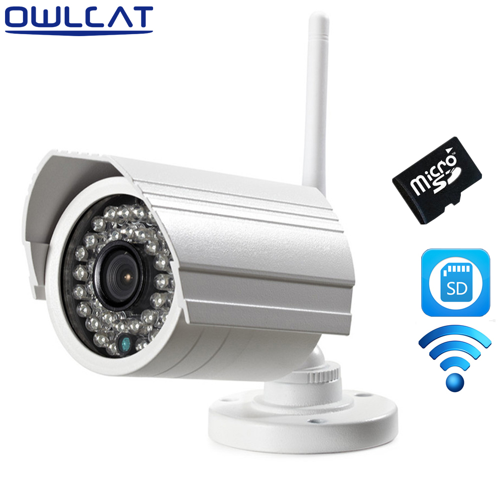 Owlcat Outdoor Bullet WIFI IP camera HD 2.0MP 1080p Audio Microphone Wireless Survelliance CCTV Security Camera IR SD Card Slot wistino cctv camera metal housing outdoor use waterproof bullet casing for ip camera hot sale white color cover case