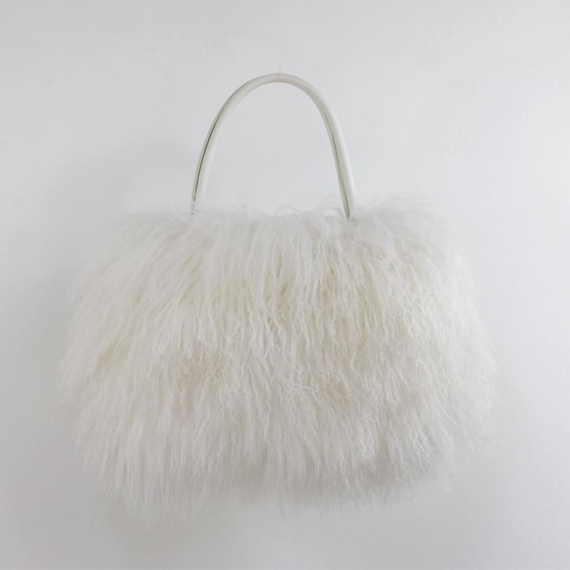 Classic Women Fluffy real Mongolian Fur bag Handbag Purse YH211 - 4