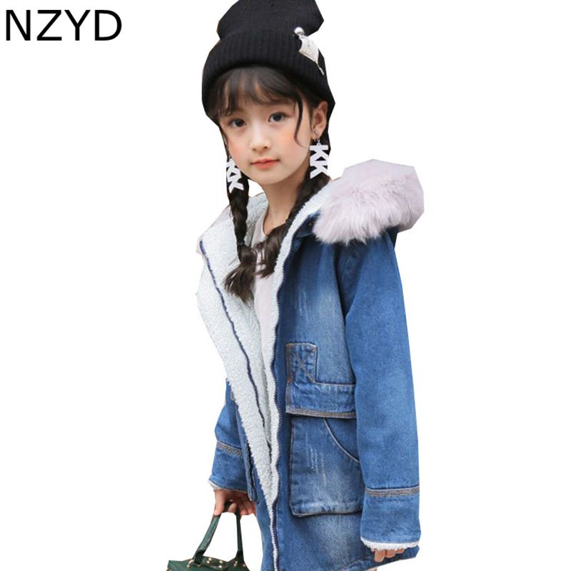 New Fashion Winter Girls Coat Han edition 2017 Children Thicken Jacket Denim Coat Casual Joker Kids Clothes 5-13 Years DC645 цены онлайн