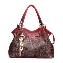Frauen handtasche leder aushöhlen farbverlauf quaste tasche damen tragbare schultertasche (Rot)
