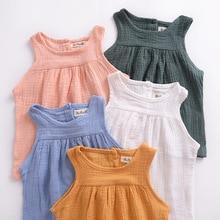 Summer Kids Baby tops девушки без рукавов топ-шорты мода Хлопок и льняная рубашка PP шорты детская Дышащая одежда