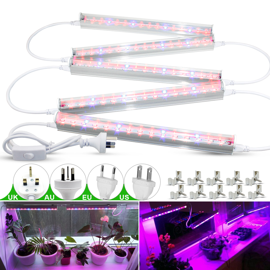 5 Pcs Led Grow Light Full Spectrum 110V 220V T5 EU/US/UK/AU Plug Led Grow Tube Phyto Lamps Indoor Growing Lamp For Seedlings