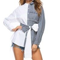 Girls Tie Waist Hit Color Striped Blouse Ruffles Patchwork Kimono Irregular Shirts Elegant Long Bowtie Sashes