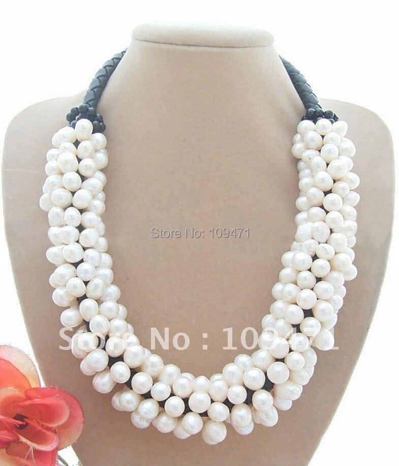 Красивый белый жемчужный& оникс ожерелье