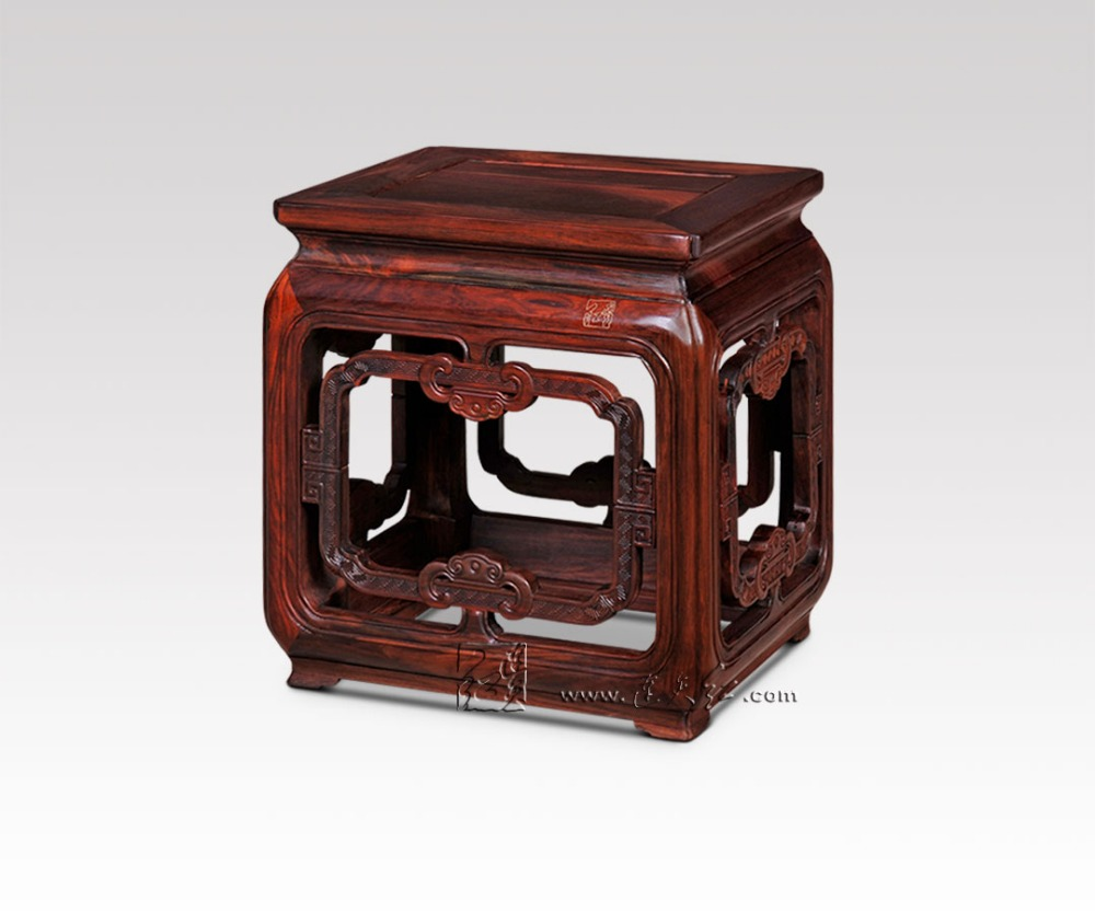 Classical Square Stools with RuYi stripe Living Room Luxury Furniture Bench with Turtle feet Burmase Rosewood Children's chair stools with chi design living room low console table burma rosewood chinese classical antique furniture solid wood square bench