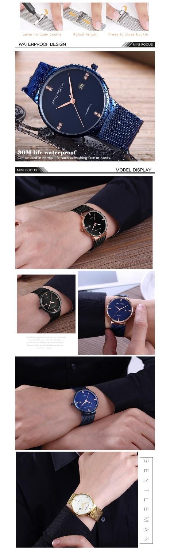 2019 Fashion Minifocus Mens Watches Top Brand Luxury Quartz Clock Ultra Thin Marine Mesh Strap Rhinestone Royal Dress Wrist Watch For Man Watches Quartz Watches