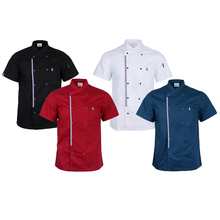 Solid Double Breasted Chef Jacket Coat Short Sleeves Shirt Kitchen Uniforms Mandarin Collar with Colorful Striped Hem for Unisex