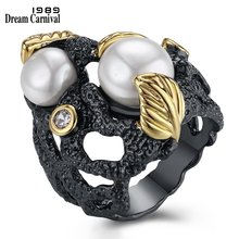 DreamCarnival 1989 Unique Forest Foliage Vintage Design High Quality Synthetic Pearls Gothic Jewelry Big Black Rings BR12444(China)
