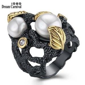 DreamCarnival 1989 unikalne las liści rocznika projektowania wysokiej jakości syntetyczne perły gotycka biżuteria duża czarno pierścienie br14444