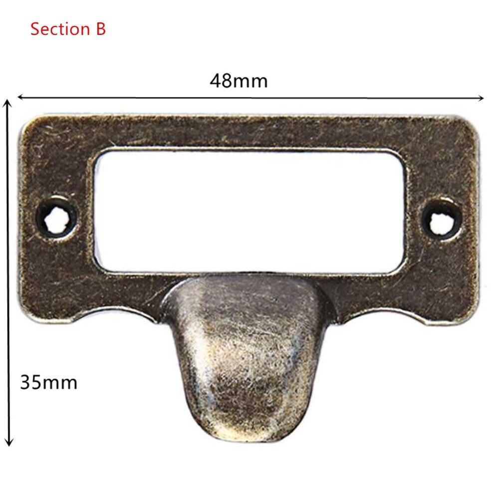 Lot 10pcs Cadre Porte-étiquette Vintage Poignée Tirette en Fer Décor Meuble