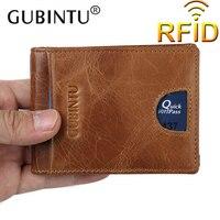 GUBINTU Men Genuine Leather Money Clip Blocking Wallet For Male Flat Wallet Mens Front Pocket Wallet