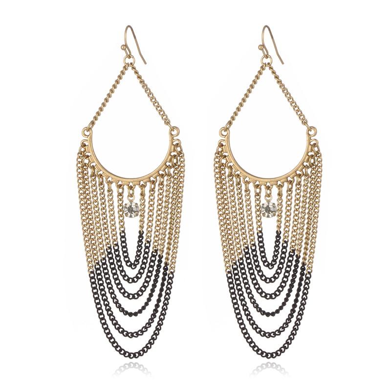 Big Long Link Chain Tassel Dangle Earrings for Women Gold Silver Black Color Alloy Crystal Drop Earring Party Fashion Jewelry