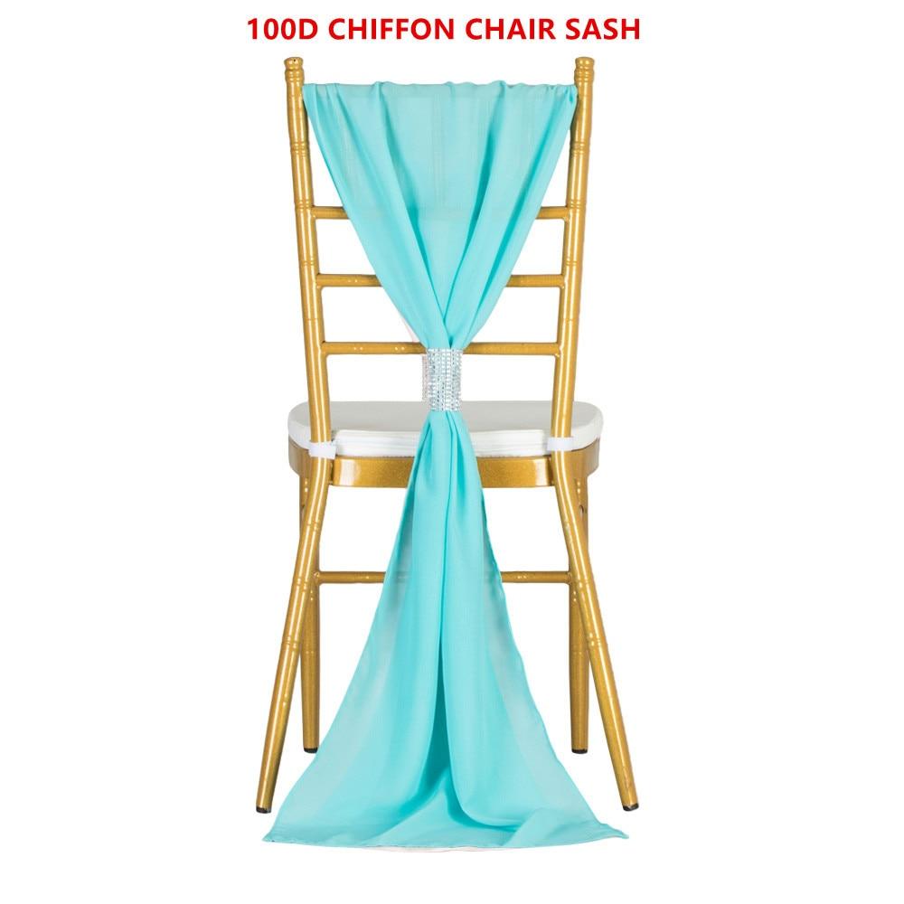 100PCS Outdoor Party Wedding Chair Hood Chiffon Ruffled Chair Sash For Chiavari Chair Decoration White Purple Pink Chair Ties