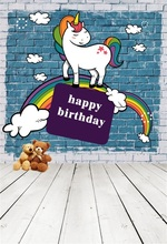 Laeacco Baby Birthday Unicorn Rainbow Brick Wall Planks Photo Backgrounds Customized Photography Backdrops For Studio