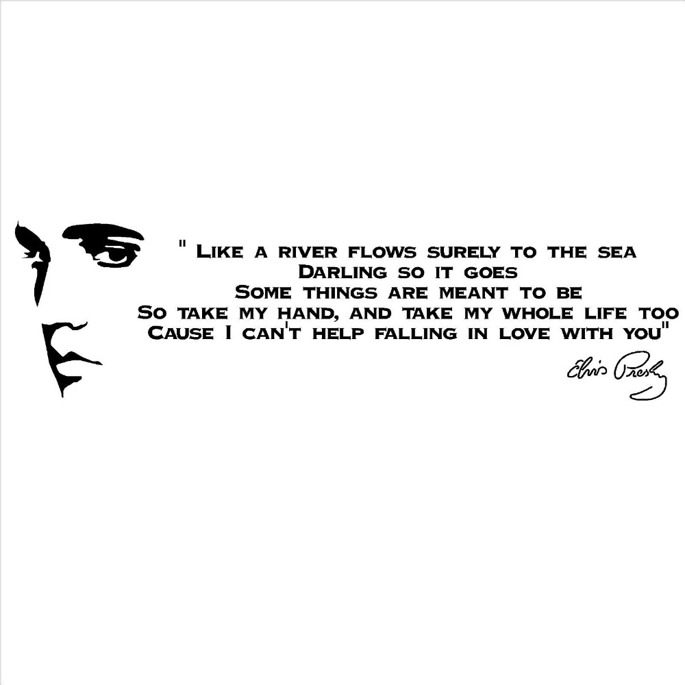 US $7 99 25% OFF|ELVIS PRESLEY SONG LYRICS LIKE A RIVER Vinyl Wall Art  Sticker room decal Customize Color available Wall Sticker Wallpaper D412-in