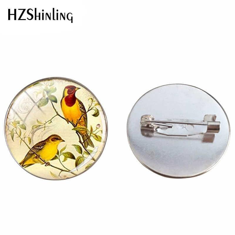 2019 Vintage Red Robin Burung Kaca Dome Pin Bros Retro Burung Perhiasan Hewan Perak Wanita Bros Perhiasan