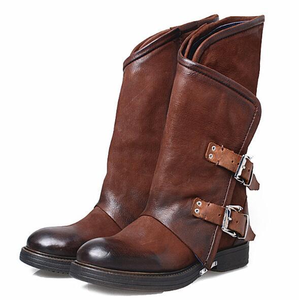 Style européen noir chaud marron foncé véritable cuir bout rond bottes de Combat femmes boucle zippée mi-mollet bottes courtes