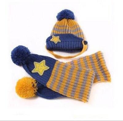 Новинка; Милая зимняя Детская шерстяная шапка с пентаграммой; Милая зимняя шапка с ушами и улыбающимся лицом; теплая шапка с рукавами для малышей; шарф; головной убор; комплект - Цвет: B