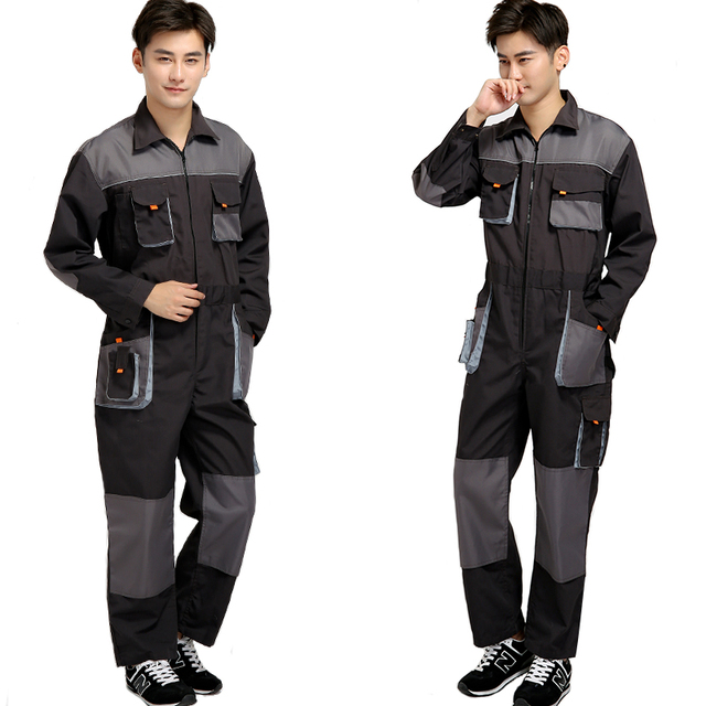 Bib overalls men work coveralls protective repairman strap jumpsuits pants working uniforms plus size sleeveless coverall 3