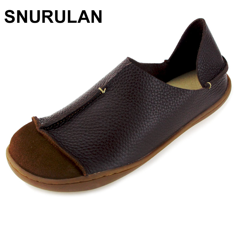 SNURULAN Genuine Leather Flat Shoes Woman Slip on Loafers Ladies Flat Shoes Mori Girl Style Brand