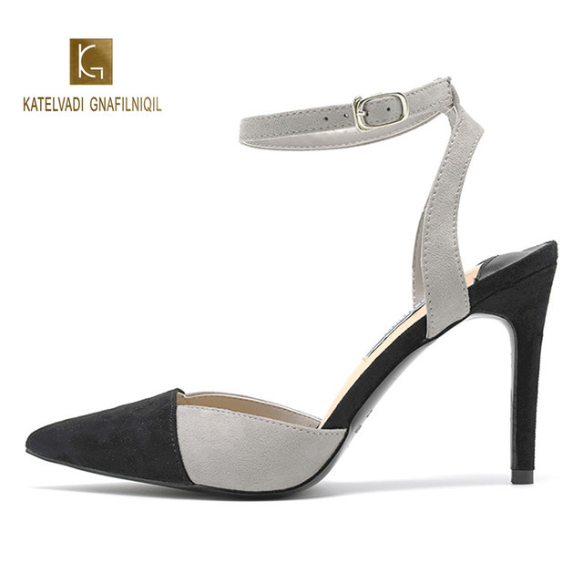 9CM High Heels Sandals Woman Grey with Black Pointed Toe Ankle Strap Summer Sandals Women Shoes  K-285
