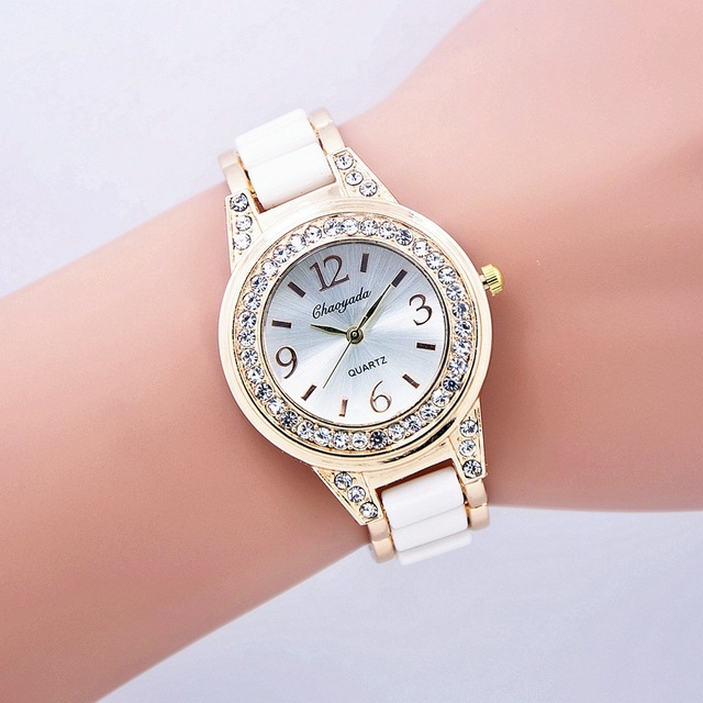 0d148d39ac4 Relógio Marca de moda Mulheres Rhinestone Quartz Relógio de Pulso Banda De  Aço Senhoras Relógio de