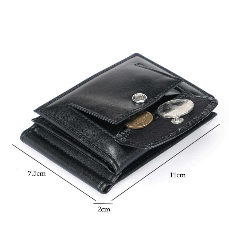 DANJUE Rfid Blocking Men Money Clip Leather Clutch Purse Men Fashion Large Capacity Credit Card Package Small Coin Wallet Male