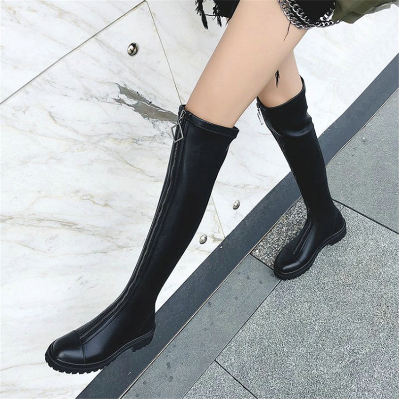 NAYIDUYUN Thigh High Boots Women Black Leather Over The Knee Booties Med Heel Tall Shaft Punk Sneakers Chic Riding Greepers new 2017 women fashion over knee high boots poin toe black leather booties thick heel tall thigh high glaiator booties dress