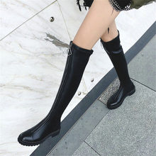 NAYIDUYUN  Thigh High Boots Women Black Leather Over The Knee Booties Med Heel Tall Shaft Punk Sneakers Chic Riding Creepers