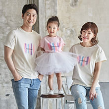 Summer new cotton family pack a of four people with mother and daughter love cute print t-shirt baby climbing clothes